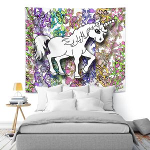 Artistic Wall Tapestry | Susie Kunzelman - Unicorn Rainbow D