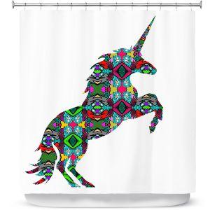 Premium Shower Curtains | Susie Kunzelman - Unicorn | silhouette fantasy animal pattern