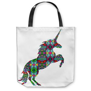 Unique Shoulder Bag Tote Bags | Susie Kunzelman - Unicorn | silhouette fantasy animal pattern