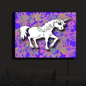 Nightlight Sconce Canvas Light | Susie Kunzelman - Unicorn White Blue | Fantasy Childlike Whimsical Animals