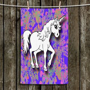 Unique Hanging Tea Towels | Susie Kunzelman - Unicorn White Blue | Fantasy Childlike Whimsical Animals