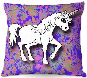 Throw Pillows Decorative Artistic | Susie Kunzelman - Unicorn White Blue