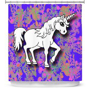 Premium Shower Curtains | Susie Kunzelman - Unicorn White Blue