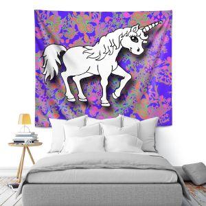 Artistic Wall Tapestry | Susie Kunzelman - Unicorn White Blue