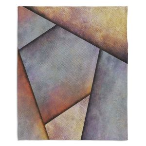 Artistic Sherpa Pile Blankets | Sylvia Cook - Abstract Brown Grey | Slate Stone Shapes