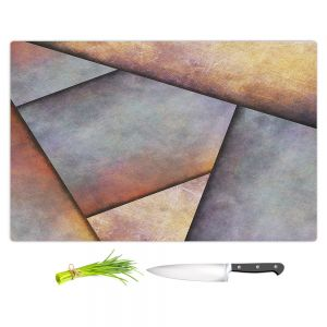 Artistic Kitchen Bar Cutting Boards   Sylvia Cook - Abstract Brown Grey   Slate Stone Shapes