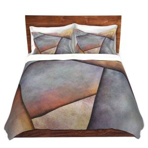 Artistic Duvet Covers and Shams Bedding | Sylvia Cook - Abstract Brown Grey | Slate Stone Shapes