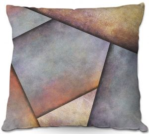 Throw Pillows Decorative Artistic | Sylvia Cook - Abstract Brown Grey | Slate Stone Shapes