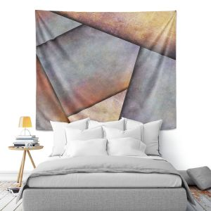 Artistic Wall Tapestry | Sylvia Cook - Abstract Brown Grey | Slate Stone Shapes
