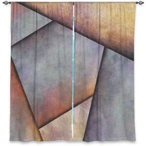Unique Window Curtains Unlined 40w x 52h from DiaNoche Designs by Sylvia Cook - Abstract Brown Grey