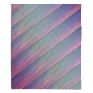 Decorative Fleece Throw Blankets | Sylvia Cook - Diagonal Stripes Purples | Lines Abstract Shapes Pattern