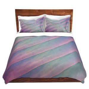 Artistic Duvet Covers and Shams Bedding | Sylvia Cook - Diagonal Stripes Purples | Lines Abstract Shapes Pattern