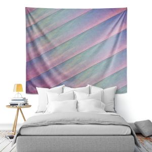 Artistic Wall Tapestry | Sylvia Cook - Diagonal Stripes Purples | Lines Abstract Shapes Pattern