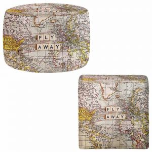 Round and Square Ottoman Foot Stools | Sylvia Cook - Fly Away I