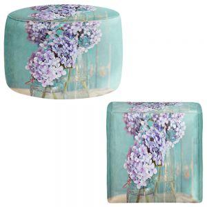 Round and Square Ottoman Foot Stools | Sylvia Cook - Hydrangeas in Mason Jars
