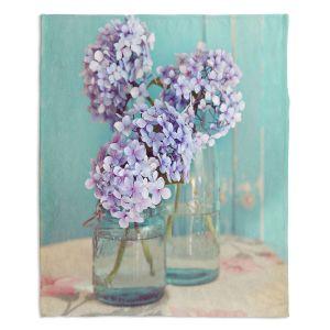 Decorative Fleece Throw Blankets | Sylvia Cook - Hydrangeas in Mason Jars