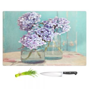 Artistic Kitchen Bar Cutting Boards | Sylvia Cook - Hydrangeas in Mason Jars