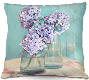 Decorative Outdoor Patio Pillow Cushion | Sylvia Cook - Hydrangeas in Mason Jars