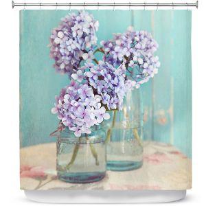 Premium Shower Curtains | Sylvia Cook Hydrangeas in Mason Jars
