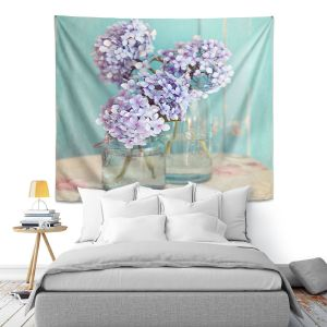 Artistic Wall Tapestry | Sylvia Cook Hydrangeas in Mason Jars