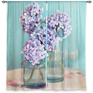 Decorative Window Treatments | Sylvia Cook Hydrangeas in Mason Jars