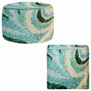 Round and Square Ottoman Foot Stools | Sylvia Cook - Mosaic Swirl