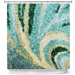 Unique Shower Curtain 69w x 72h inches from DiaNoche Designs by Sylvia Cook - Mosaic Swirl