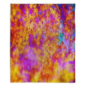 Decorative Fleece Throw Blankets | Sylvia Cook - Neon Leaves | abstract nature pattern