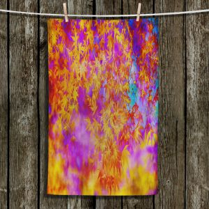 Unique Hanging Tea Towels   Sylvia Cook - Neon Leaves   abstract nature pattern