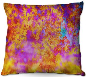 Throw Pillows Decorative Artistic | Sylvia Cook - Neon Leaves | abstract nature pattern
