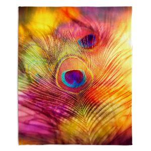 Decorative Fleece Throw Blankets | Sylvia Cook - Peacock Feather