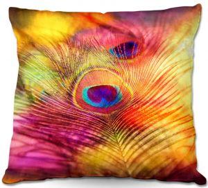Decorative Outdoor Patio Pillow Cushion | Sylvia Cook - Peacock Feather