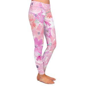 Casual Comfortable Leggings | Sylvia Cook - Pink Orange Flowers