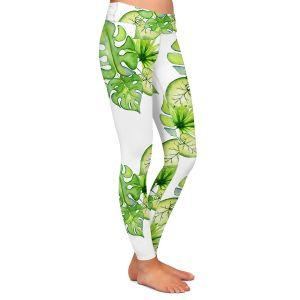 Casual Comfortable Leggings | Sylvia Cook - Tropical Leaves