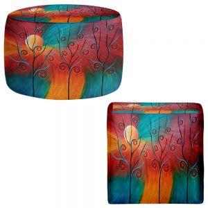 Round and Square Ottoman Foot Stools | Tara Viswanathan - Peacock Inspiration II