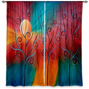 Unique Window Curtain Unlined 80w x 52h from DiaNoche Designs by Tara Viswanathan - Peacock Inspiration II
