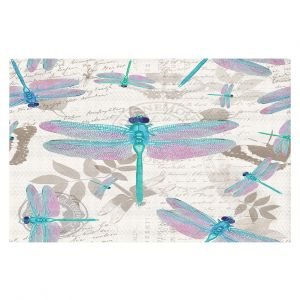 Decorative Floor Coverings | Tina Lavoie - Dragonfly Pattern Aqua | Dragonfly Bugs Vintage