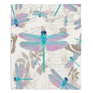 Decorative Fleece Throw Blankets | Tina Lavoie - Dragonfly Pattern Aqua | Dragonfly Bugs Vintage
