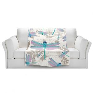 Artistic Sherpa Pile Blankets | Tina Lavoie - Dragonfly Pattern Aqua | Dragonfly Bugs Vintage