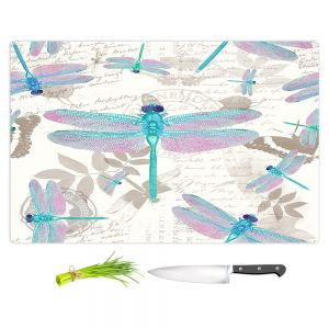Artistic Kitchen Bar Cutting Boards | Tina Lavoie - Dragonfly Pattern Aqua | Dragonfly Bugs Vintage