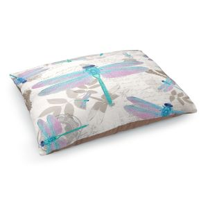Decorative Dog Pet Beds | Tina Lavoie - Dragonfly Pattern Aqua | Dragonfly Bugs Vintage