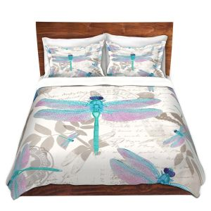 Artistic Duvet Covers and Shams Bedding | Tina Lavoie - Dragonfly Pattern Aqua | Dragonfly Bugs Vintage