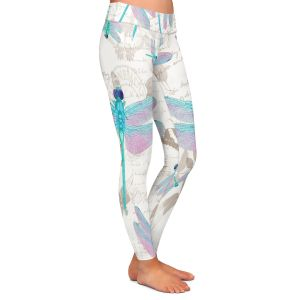 Casual Comfortable Leggings | Tina Lavoie - Dragonfly Pattern Aqua | Dragonfly Bugs Vintage