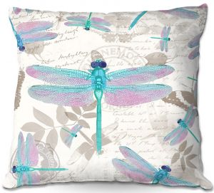 Decorative Outdoor Patio Pillow Cushion | Tina Lavoie - Dragonfly Pattern Aqua | Dragonfly Bugs Vintage