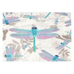 Countertop Place Mats   Tina Lavoie - Dragonfly Pattern Aqua   Dragonfly Bugs Vintage