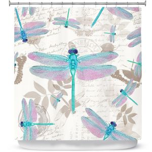 Premium Shower Curtains | Tina Lavoie - Dragonfly Pattern Aqua | Dragonfly Bugs Vintage