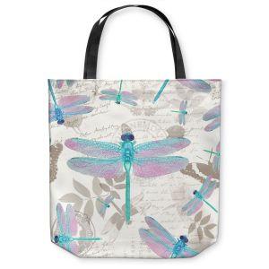 Unique Shoulder Bag Tote Bags   Tina Lavoie - Dragonfly Pattern Aqua   Dragonfly Bugs Vintage