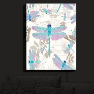 Nightlight Sconce Canvas Light | Tina Lavoie - Dragonfly Pattern Aqua