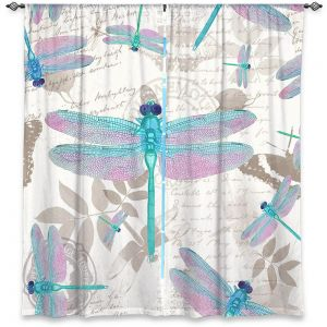 Decorative Window Treatments | Tina Lavoie - Dragonfly Pattern Aqua | Dragonfly Bugs Vintage
