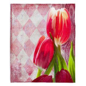 Artistic Sherpa Pile Blankets | Tina Lavoie - Harlequin | Tulips Flowers Patterns Florals Vintage